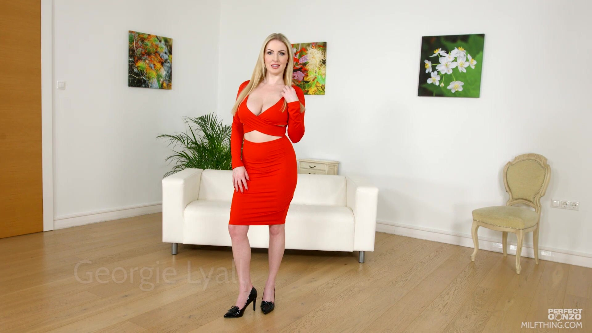 Big Natural Tits Georgie Lyall In Red Dress Gets Fucked