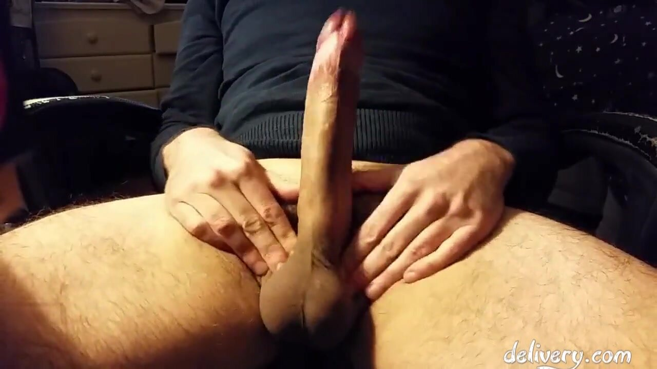 Stroking, slapping, and squeezing my fat, huge, hard cock 4
