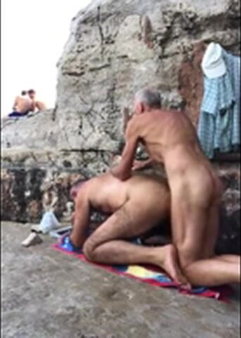 2 dads on the beach fucking 2